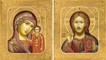 Венчальная пара икон Господь Вседержитель (арт.00113) и Божия Матерь Казанская (арт.00213)